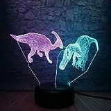 Neuheit Tier Dinosaurier 3D Lampe Mischfarben Schlafzimmer Schlaf Nachtlicht Rgb Beleuchtung...