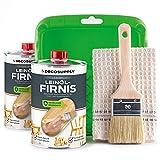 DECOSUPPLY Leinölfirnis SET 2x1L mit Farbwanne, Pinsel & Baumwolltuch - Leinöl für Holz im Innen- und Außenbereich für einen natürlichen Holzschutz