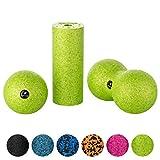 BODYMATE Faszien Mini-Set Apfel-Grün - Mini-Faszien-Rolle L15xD6cm, Ball D8cm und Duo-Ball D8cm im...