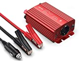 Reiner Sinus Spannungswandler 12V auf 230V BESTEK Sinus Wechselrichter 300w Stromwandler Converter Inverter Auto Adapter Netzteil mit 2 USB Ports, Zigarettenanzünder Stecker Autobatterieclips, Rot