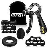 GRM Handtrainer Fingertrainer mit Zählfunktion [5er Set], Verstellbarer Unterarmtrainer, Finger...