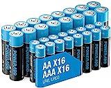 1.5 V AA AAA Batterien Combo, 16 x LR6 & 16 x LR03 Alkaline Batterie Pack Mixed Performance Double A Triple A Langlebig & Haltbarkeit & 10 Jahre Haltbarkeit für Fernbedienungen, Maus, 32 Stück
