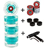 FunTomia 4 Stück (LED) Longboard/Skateboard/Mini-Board Rollen (Big Wheels) in 65x45mm 80A inkl....