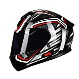 HVW Motorrad-Sturzhelm, volles Gesichts-Motocross-Helm Abnehmbarer Anti-Fog Doppel Visier ECE genehmigt Reflective Motorradhelm für Erwachsene Männer und Frauen,3,L55to58cm