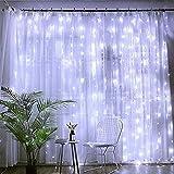 Alwayswin LED Vorhang Lichter Lichterkette mit 300 LEDs und 8 Modi Fernbedienung Weiß (3m x 3m)...