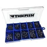 THKFISH Angelhaken, 500 Stück # 3 ~ # 12 schwarz Angelhaken Salzwasser Süßwasser Angelhaken...