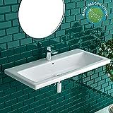 Alpenberger Nano-Beschichtung Handwaschbecken aus hochwertiger Keramik 90 X 45 cm mit Überlauf...