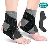 Knöchelbandage, Knöchelschutz Sprunggelenk Fußgelenkstütze mit 2 PE Bretter, Fußbandage mit 3...