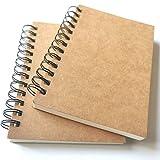 VEEPPO Notizbücher, 200 Seiten pro Notizbuch, A5, unliniert/liniert, Spiralbindung, 480 g, Kraftpapier, 100 g, cremeweiße Blöcke, 14 x 18 cm, Spiralbindung, Notizbücher (liniert, 11,9 x 18 cm)