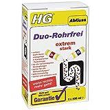 HG Duo-Rohrfrei, extrem leistungsstarker Entkalker für Küche und Bad, löst Verstopfungen effektiv, reinigt verstopfte Rohre schnell und befreit hartnäckige Abflüsse (2 x 500 ml) - 343100106