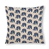 Decorative Cotton Linen Pillow Covers Hand Painted Navy Blue White Floral Mandala Elephant Throw...