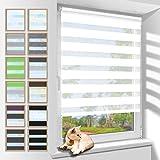 Zarnan Klemmfix Doppelrollo ohne Bohren 100x230cm(BxH) Weiß,Duo Rollo Blickdicht Zebrarollo für Fenster&Tür Wohnzimmer Küche Büro