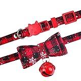WWWL Katzenhalsband Mit Weihnachten Katze Kragen & Glocke Schneeflocke kleine medium Kätzchen süße Haustier liefert M22-36cm Black