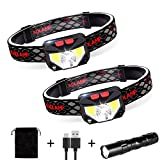 ZOYJITU LED Stirnlampe IPX4 Wasserdicht Kopflampe Super Hell 60 ° Einstellbare USB Wiederaufladbare...