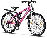 Licorne Bike Guide (Rosa/Weiß 26), 26 Zoll, 24 Zoll, 20 Zoll Mountainbike,Shimano 21...