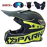 Offroad Helm Erwachsene Jugend Kinder Motocross-Gang Combo Maske Brille Handschuhe, Reises ATV...