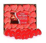 Adkwse 50er herzförmige Kerzen, rauchfreie Teelichter, für Geburtstag, Vorschlag, Hochzeit, Party,...