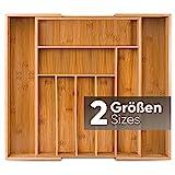Loco Bird Besteckkasten für Schubladen aus Bambus – Ausziehbar bis zu 9 Fächern - Nützlicher Besteckeinsatz fur Küchen - Schubladeneinsatz für Küchenschubladen - Besteckkasten aus Holz