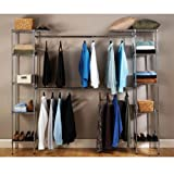 Seville Classics Erweiterbares Regal, UltraZinc Garderoben System, Metall, Silber, 147 x 36 x 183 cm