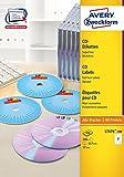 AVERY Zweckform L7676-100 selbstklebende CD-Etiketten (blickdichte CD-Aufkleber, Ø 117 mm...