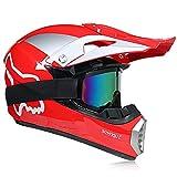Motocross Helm, Schutzbrille + Handschuhe + Maske Profi Rallye Motorrad Helm Abnehmbarer Und Waschbarer Super Star Fox Muster Erwachsenenhelm Set