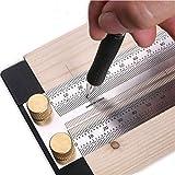 T-Lineal für Holzbearbeitung, ultra-präzise, Layout-Arbeiten, Anreißlineal mit Löchern, Anreißlineal, Lineal mit Anschlag (200 mm)