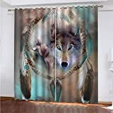 YUNSW Wolf Muster 3D Digitaldruck Polyester Faservorhänge, Wohnzimmer Küche Schlafzimmer...