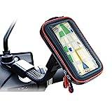 Rupse Motorrad Handyhalterung, Wasserdicht Motorrad Halterung 360°drehbar mit Touch-Screen GPS Handytasche Kopfhöreranschluss, Motorrad Tasche Halterung des Rückspiegel für Smartphone 4.7'-5.4'
