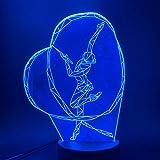 AGQG Gymnastik Band Tanz Mädchen 3D Led Nachtlicht Farbe ändern Touch Schalter Nachtlicht für...