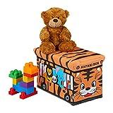 Relaxdays Spielzeugkiste faltbar, Tiersafari, Aufbewahrungsbox m. Stauraum & Deckel, gepolstert, HBT 27x40x25 cm, orange, 1 Stück
