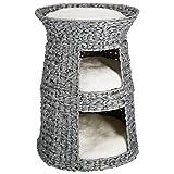 LIMAL Katzenhöhle Grau Geflochten Kunststoff Waschbare Kissen 50 x 60 cm