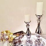 DRULINE 2er Sparset Kerzenleuchter Aladdin Kerzenständer aus Keramik Silber (1 x Klein + 1 x Groß)