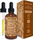 BIO JOJOBAÖL   Kaltgepresst 100% Rein   Für Haare Haut & Nägel   Frei von Zusatzstoffen   Original aus Peru   100ml im lichtgeschützten Braunglas   Natürliche Feuchtigkeitspflege von Soena Naturals