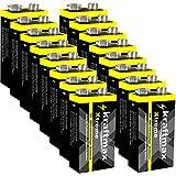 kraftmax 16er Pack Xtreme 9V Block Hochleistungs- Batterien ideal für 10 Jahres Rauchmelder - 6LR61...