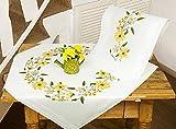 Kamaca Stickpackung Sonnenschein Kreuzstich vorgezeichnet aus 100% Baumwolle Mitteldecke 80 x 80 cm...