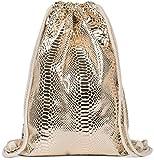 styleBREAKER Turnbeutel mit Oberfläche in Metallic Schlangenleder Optik, Rucksack, Sportbeutel, Beutel, Unisex 02012303, Farbe:Gold