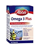 Abtei Omega-3-6-9 Lachsöl und Leinöl plus Olivenöl 60 Kapseln, für Cholesterin und Herz, 1er...