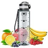 Cocoda Trinkflasche 1L mit Fruchteinsatz, Wasserflasche mit Zeitmarke, BPA Frei Auslaufsichere...