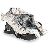 Navaris Einschlagdecke für Babyschale - universal Baby Decke für u.a. Maxi Cosi Römer Cybex Autositz - Kinderwagen Fußsack - Decke Fuchs Design