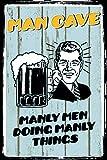 Man Cave Doing Manly Things Bier Beer Blechschild Metallschild Schild gewölbt Metal Tin Sign 20 x...