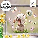 Wandtattoo Loft Fensterbild Frühling Ostern wiederverwendbar Fensteraufkleber Kinderzimmer Hase mit...