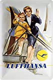 Lufthansa Stewardess mit Mädchen Blechschild Metallschild Schild gewölbt Metal Tin Sign 20 x 30 cm