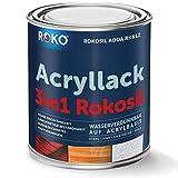 Acryl-Buntlack ROKOSIL - 0,7 Kg in Anthrazit - Seidenmatt - Wetterfest für Außen & Innen - 3in1 Grundierung & Deckfarbe - Premium Acryllack - Lack für fast alle Oberflächen - Langlebig & Robust