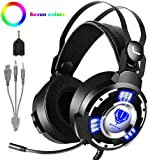 QcoQce Gaming Headset PS4, 3.5mm Xbox One Headset mit Noise Cancelling Mikrofon, LED-Licht, Bass...