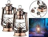 Lunartec Petroleum-Lampen: 2er-Set Petroleum-Sturmlaternen mit Glaskolben, 24 cm (Windlicht im...