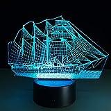 suhang Segelboot 3D Stereo Vision Lampe 7 Farben Ändernden USB Schlafzimmer Nachttischlampe...