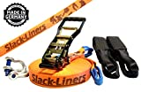 Slack-Liners 6 Teiliges Slackline-Set ORANGE - 50mm breit, 25m lang - mit Langhebelratsche Made in...