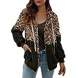 Xuthuly Frauen Winter Mode Sexy Leopard Patchwork Fleece Halten Warme Jacke Strickjacke Mit Tasche...
