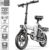 WJSW Zusammenklappbares Elektrofahrrad, Miumlegierung 14 Zoll E-Bike für Erwachsene 3-Gang...