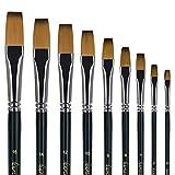 Fuumuui golden Maple Flachpinsel - professionelles Künstlerpinselset für Acryl-, Öl-, Gouache- und Aquarellmalerei 9tlg. Langer Stiel